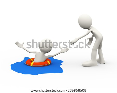 3d illustration of man helping drowning person in the life preserver lifebuoy ring calling. 3d human person character and white people - stock photo