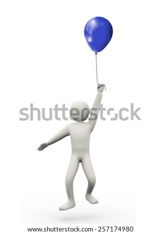 3d illustration of man holding balloon.  3d rendering of human people character - stock photo