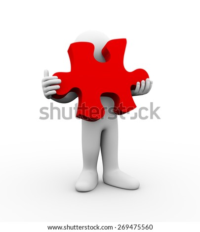 3d illustration of man holding big puzzle piece. 3d rendering of human people character. - stock photo