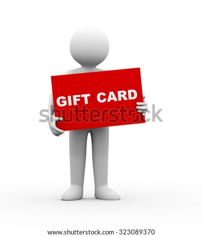 3d illustration of man holding large red gift card. 3d human person character and white people - stock photo
