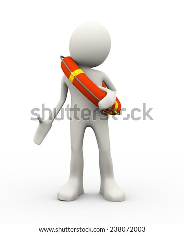 3d illustration of man holding life preserver lifebuoy ring. 3d human person character and white people