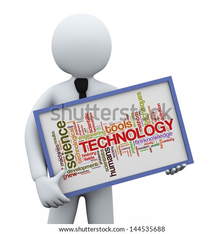 3d illustration of man holding technology wordcloud words tags board.  3d rendering of human people character. - stock photo