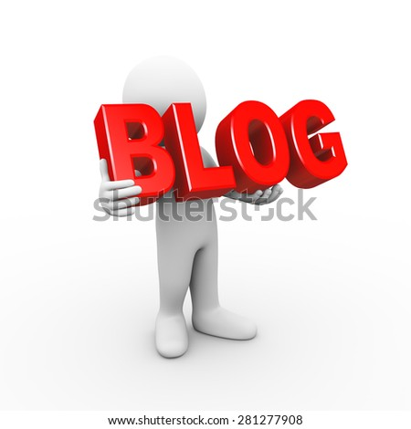 3d illustration of man holding word text blog.  3d rendering of human people character - stock photo