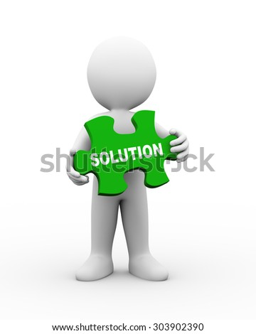 3d illustration of man holding word text of solution on puzzle piece.  3d rendering of human people character. - stock photo