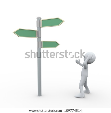 3d illustration of man in doubt about decision looking at road signs - stock photo