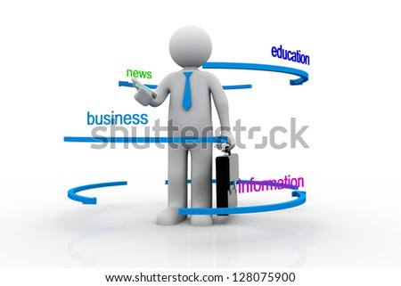 3d Illustration of man in front of word tags.