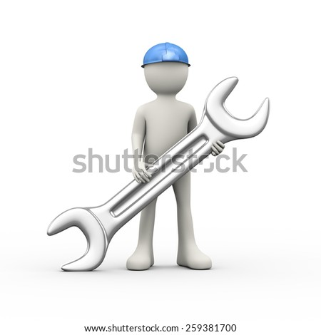 3d illustration of man in hardhat helmet holding large steel wrench. 3d human person character and white peopl - stock photo