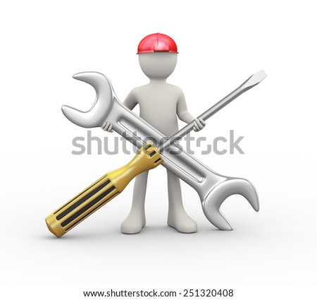 3d illustration of man in hardhat helmet holding wrench and screwdriver repairing tool. 3d human person character and white people - stock photo