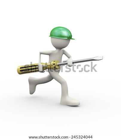 3d illustration of man in hardhat helmet running  screwdriver. 3d human person character and white people - stock photo