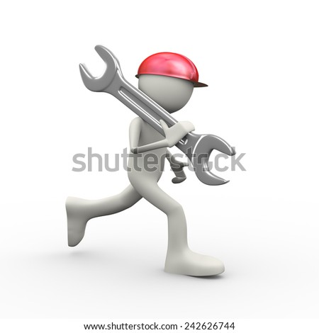 3d illustration of man in hardhat helmet running with big wrench on his shoulder. 3d human person character and white people - stock photo