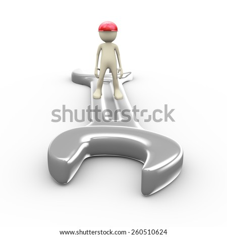 3d illustration of man in hardhat helmet standing on large steel wrench. 3d human person character and white people.  - stock photo