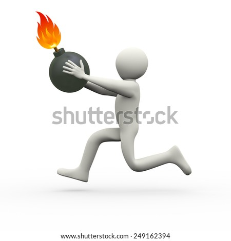 3d illustration of man is running with bomb.  3d rendering of human people character - stock photo