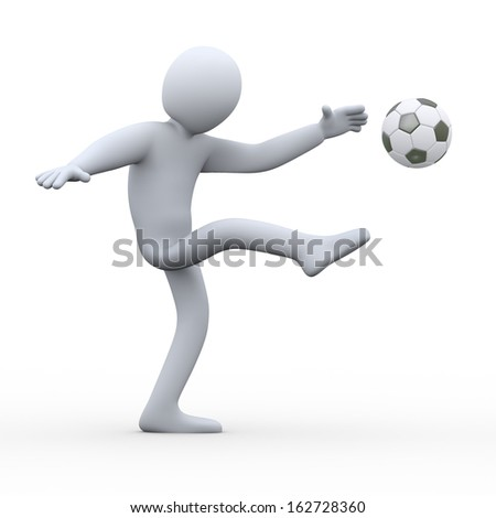 3d illustration of man kicking soccer football.  3d rendering of human people character. - stock photo