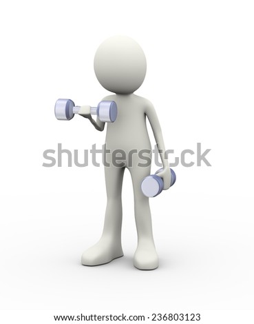 3d illustration of man lifting dumbbell with his hands and doing fitness exercise. 3d human person character and white people