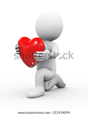 3d illustration of man on knee giving heart. concept of love.  3d rendering of human people character - stock photo