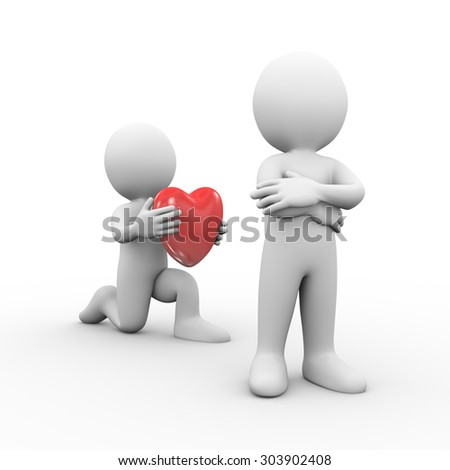 3d illustration of man on knee giving heart to his resent and anger friend.  3d rendering of human people character - stock photo