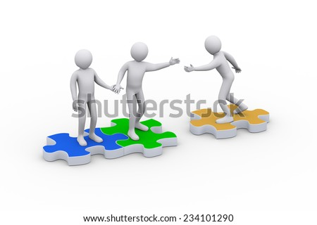 3d illustration of man on puzzle piece joining team. Concept of teamwork and leadership. 3d rendering of people - human character. - stock photo