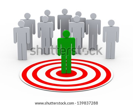 3d illustration of man on target choose from group of people on target - stock photo