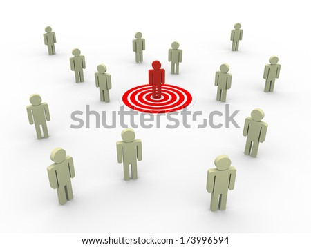 3d illustration of man on target.  Concept of targeting new customers and buyers for sales growth.  - stock photo