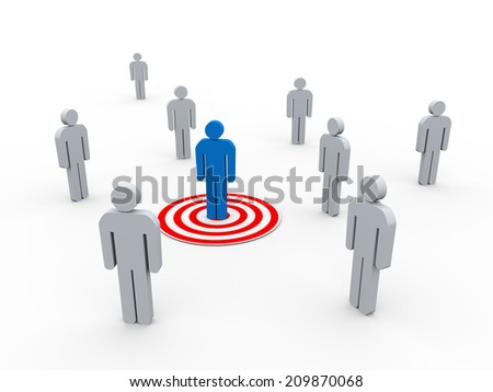 3d illustration of man on target from group of people. concept of targeting buyer - stock photo