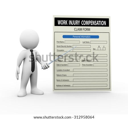 3d illustration of man pointing to work injury claim form. 3d rendering of human people character - stock photo