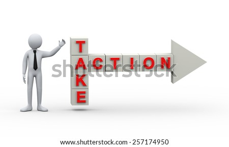 3d illustration of man presentation of crossword take action pointing arrow.  3d rendering of human people character - stock photo