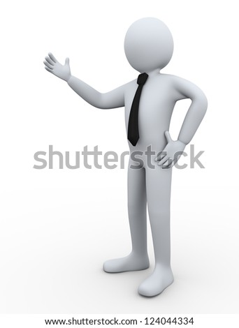 3d Illustration of man presenting something. 3d rendering of people - human character businessman. - stock photo
