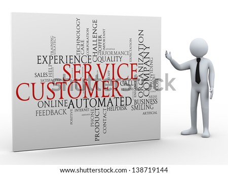 3d Illustration of man presenting word tags wordcloud of customer service. 3d rendering of human people character. - stock photo