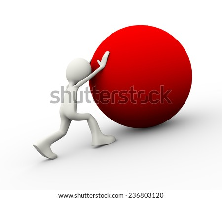 3d illustration of man pushing a red big ball uphill showing determination. 3d human person character and white people - stock photo