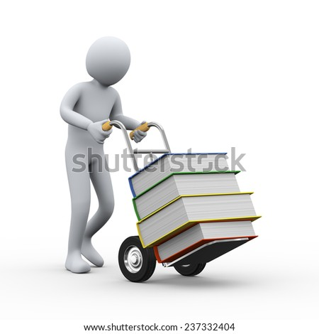3d illustration of man pushing hand truck with books. 3d rendering of people - human character. - stock photo