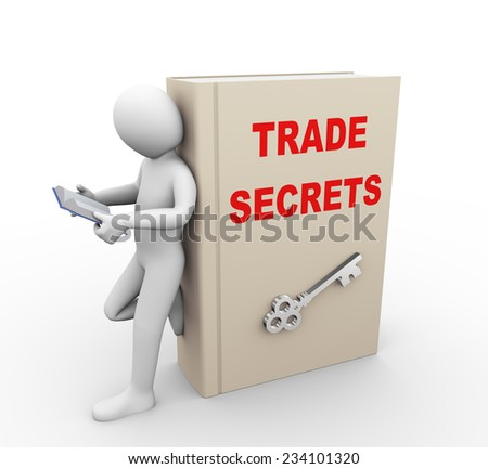 3d illustration of man reading book and standing with large book of trade secrets.  3d rendering of people - human character. - stock photo