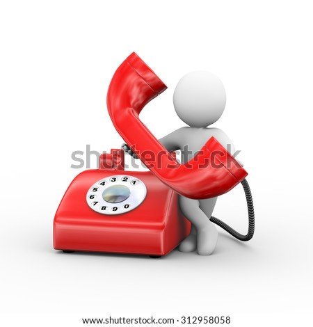 3d illustration of man receiving rotary telephone.  3d rendering of human people character - stock photo