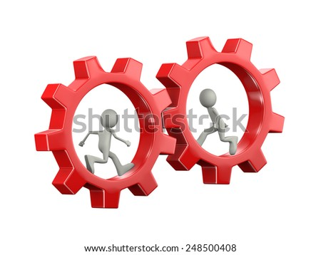 3d illustration of man running inside rotating red big chrome metallic gear cog wheel. 3d human person character and white people - stock photo
