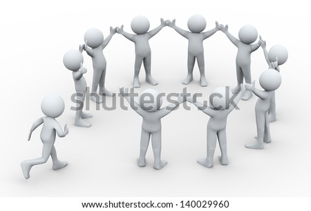 3d illustration of man running to join group of people connected in circular shape.  3d rendering of human character and team work concept.