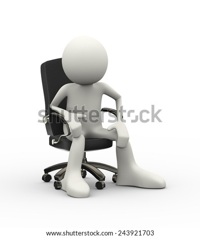 3d illustration of man seated on business chair. 3d human person character and white people