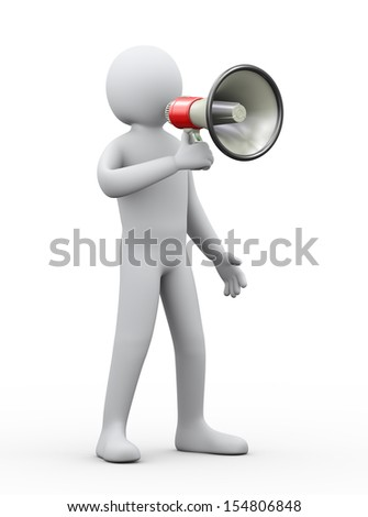 3d illustration of man shouting and announcement through megaphone. 3d rendering of human people character. - stock photo