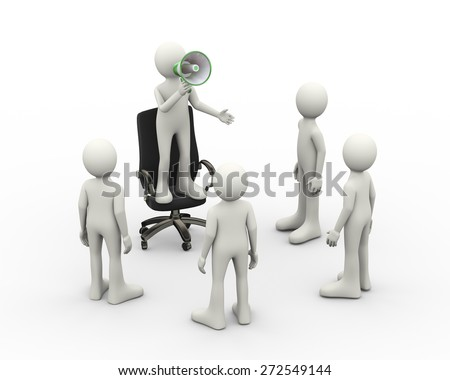 3d illustration of man standing on business armchair in front of people announcing and shouting through megaphone. 3d human person character and white people - stock photo