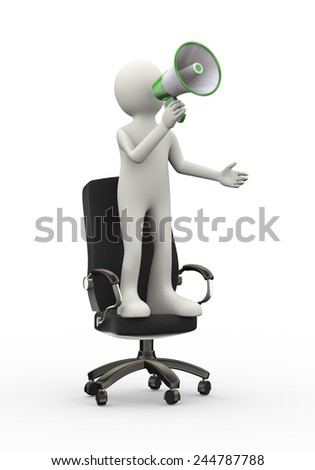 3d illustration of man standing on business armchair  shouting and yelling through megaphone. 3d human person character and white people - stock photo