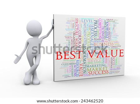 3d illustration of man standing with best value wordcloud word tags. 3d human person character and white people - stock photo
