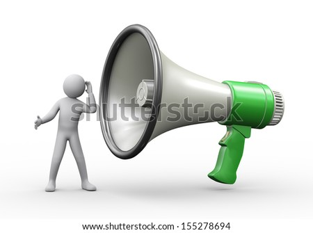 3d illustration of man standing with big megaphone and listening to it.  3d rendering of human people character. - stock photo