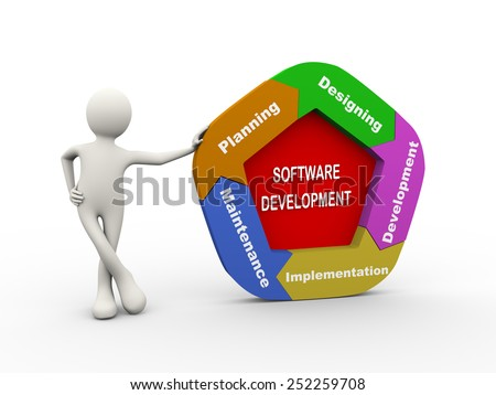 3d illustration of man standing with circular arrow flow chart of software development concept. 3d human person character and white people - stock photo