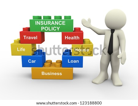 3d illustration of man standing with circular shape toy blocks representing type of insurance policy - stock photo