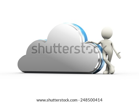 3d illustration of man standing with cloud. Concept of backup solution cloud computing. 3d human person character and white people - stock photo
