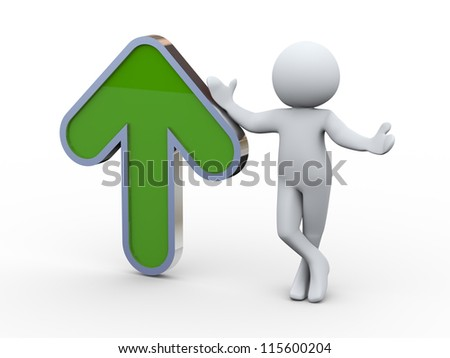 3d illustration of man standing with green up arrow. 3d rendering of human character.