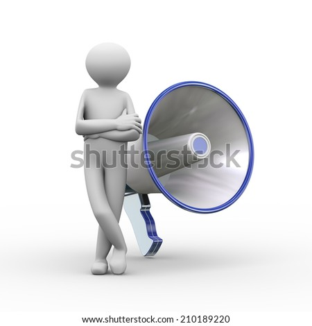 3d illustration of man standing with large megaphone. 3d human person character and white people - stock photo
