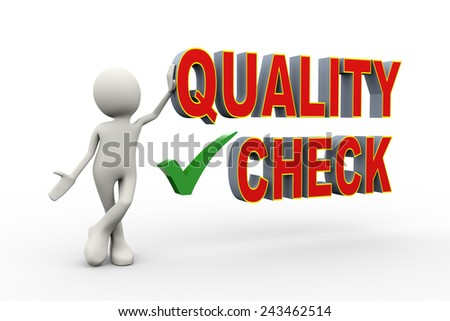 3d illustration of man standing with quality check tick mark. 3d human person character and white people - stock photo