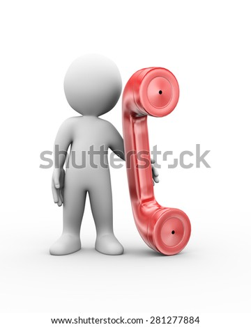 3d illustration of man standing with telephone handset.  3d rendering of human people character - stock photo