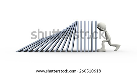 3d illustration of man stopping falling object in the line of domino. 3d human person character and white people. - stock photo