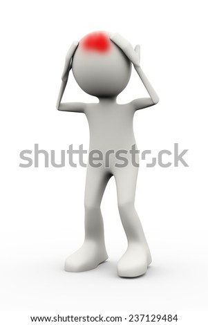3d illustration of man suffering from headache. 3d human person character and white people - stock photo