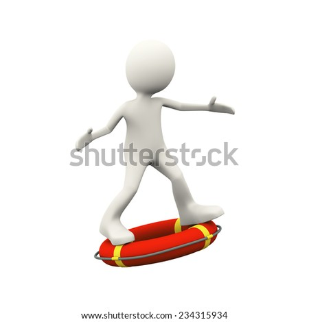 3d illustration of man surfing on life preserver lifebuoy ring. 3d human person character and white people - stock photo